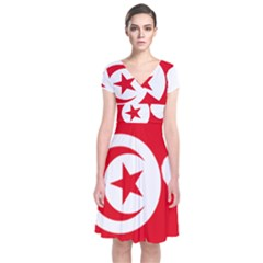 Tunisia Flag Map Geography Outline Short Sleeve Front Wrap Dress