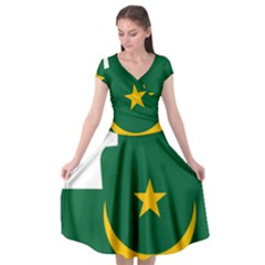 Mauritania Flag Map Geography Cap Sleeve Wrap Front Dress by Sapixe