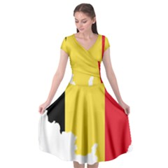 Belgium Country Europe Flag Cap Sleeve Wrap Front Dress by Sapixe