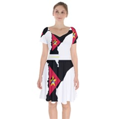 Mozambique Flag Map Geography Short Sleeve Bardot Dress by Sapixe