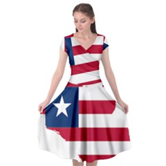 Liberia Flag Map Geography Outline Cap Sleeve Wrap Front Dress by Sapixe