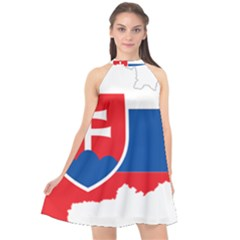 Slovakia Country Europe Flag Halter Neckline Chiffon Dress  by Sapixe