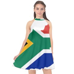 Africa Borders Country Flag Halter Neckline Chiffon Dress  by Sapixe
