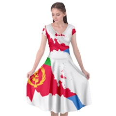 Eritrea Flag Map Geography Outline Cap Sleeve Wrap Front Dress by Sapixe