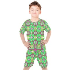 Circles And Other Shapes Pattern                         Kids  Tee And Shorts Set by LalyLauraFLM