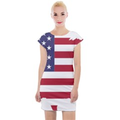 America Art Borders Cartography Cap Sleeve Bodycon Dress