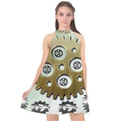 Gear Background Sprocket Halter Neckline Chiffon Dress