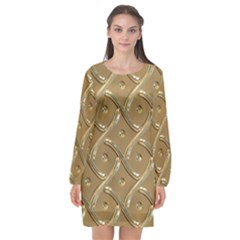Gold Background Modern Long Sleeve Chiffon Shift Dress  by Jojostore