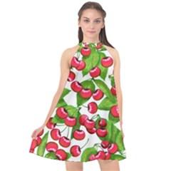 Cherry Leaf Fruit Summer Halter Neckline Chiffon Dress