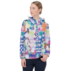 Colorful Crayons                              Women Hooded Front Pocket Windbreaker by LalyLauraFLM