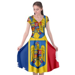 Romania Country Europe Flag Cap Sleeve Wrap Front Dress by Sapixe