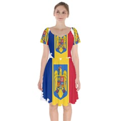 Romania Country Europe Flag Short Sleeve Bardot Dress by Sapixe