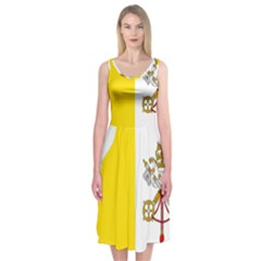 Vatican City Country Europe Flag Midi Sleeveless Dress