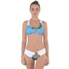 San Marino Country Europe Flag Criss Cross Bikini Set by Sapixe