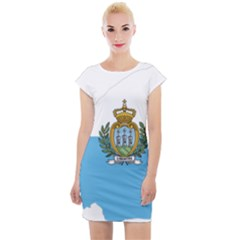 San Marino Country Europe Flag Cap Sleeve Bodycon Dress