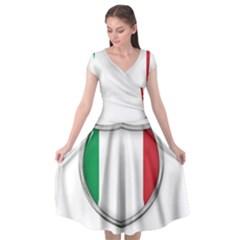 Flag Italy Country Italian Symbol Cap Sleeve Wrap Front Dress by Sapixe