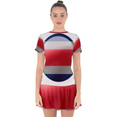 Costa Rica Flag Country Symbol Drop Hem Mini Chiffon Dress