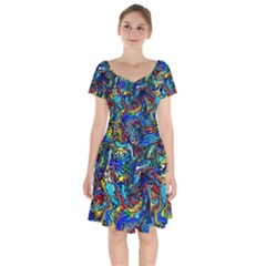 F 3 Short Sleeve Bardot Dress by ArtworkByPatrick