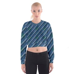 Blue Stripped Pattern Cropped Sweatshirt by designsbyamerianna