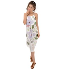 Spring Watercolour Flowers Waist Tie Cover Up Chiffon Dress by Pakrebo