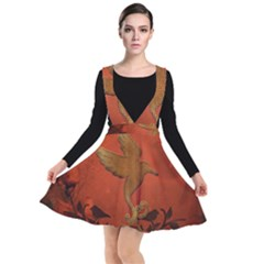 Elegant Decorative Bird Plunge Pinafore Dress by FantasyWorld7