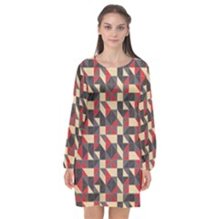 Pattern Textiles Long Sleeve Chiffon Shift Dress