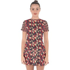 Pattern Textiles Drop Hem Mini Chiffon Dress
