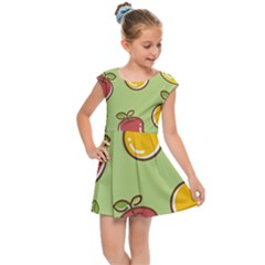 Seamless Healthy Fruit Kids  Cap Sleeve Dress by HermanTelo