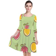 Seamless Healthy Fruit Quarter Sleeve Waist Band Dress by HermanTelo