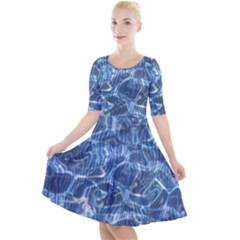 Abstract Blue Diving Fresh Quarter Sleeve A Line Dress