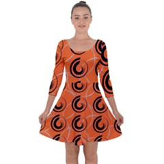 Background Pattern Retro Quarter Sleeve Skater Dress