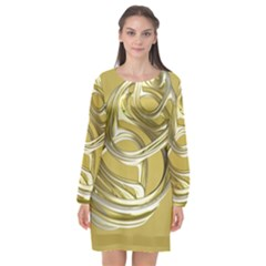 Fractal Abstract Artwork Long Sleeve Chiffon Shift Dress  by HermanTelo