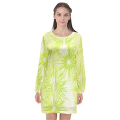 Background Green Star Long Sleeve Chiffon Shift Dress