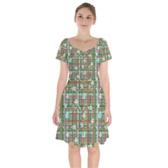 Textile Fabric Short Sleeve Bardot Dress