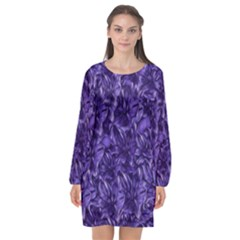 Pattern Color Ornament Long Sleeve Chiffon Shift Dress  by HermanTelo
