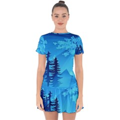Forest Landscape Pine Trees Forest Drop Hem Mini Chiffon Dress by Pakrebo