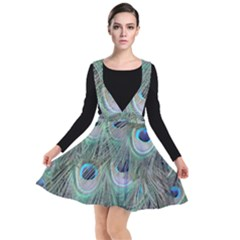 Peacock Feather Pattern Plumage Plunge Pinafore Dress by Pakrebo