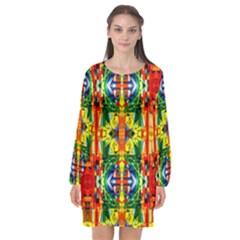 I 9 Long Sleeve Chiffon Shift Dress  by ArtworkByPatrick