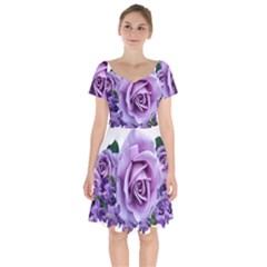 Roses Violets Flowers Arrangement Short Sleeve Bardot Dress