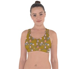 Textile Flowers Pattern Cross String Back Sports Bra by HermanTelo