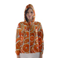 Oranges Background Women s Hooded Windbreaker