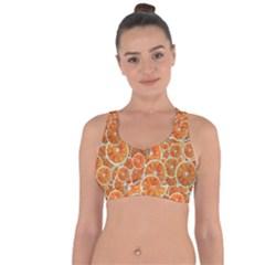 Oranges Background Cross String Back Sports Bra