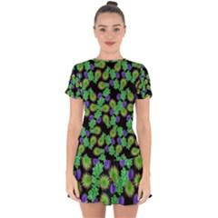 Flowers Pattern Background Drop Hem Mini Chiffon Dress by HermanTelo