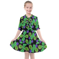 Flowers Pattern Background Kids  All Frills Chiffon Dress by HermanTelo