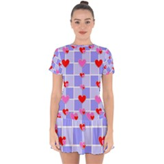 Love Hearts Valentine Decorative Drop Hem Mini Chiffon Dress