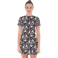 Fabric Pattern Drop Hem Mini Chiffon Dress