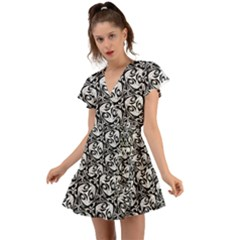 Fabric Pattern Flutter Sleeve Wrap Dress by AnjaniArt