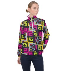 Squares Pattern                                  Women Half Zip Windbreaker by LalyLauraFLM