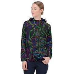 Neon Waves                                  Women Hooded Front Pocket Windbreaker by LalyLauraFLM