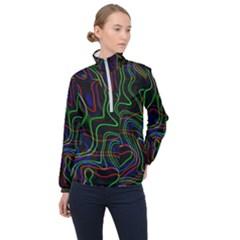 Neon Waves                                  Women Half Zip Windbreaker by LalyLauraFLM